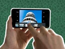 Schnitt mit dem Smartphone